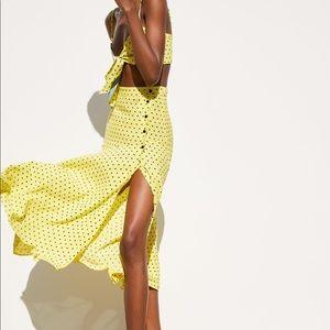 NWT's Zara Sexy Yellow Long Skirt Size Large L
